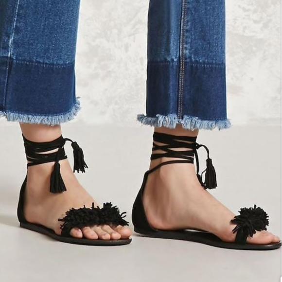 Forever 21 Black Sandals Lace up with fringe blak